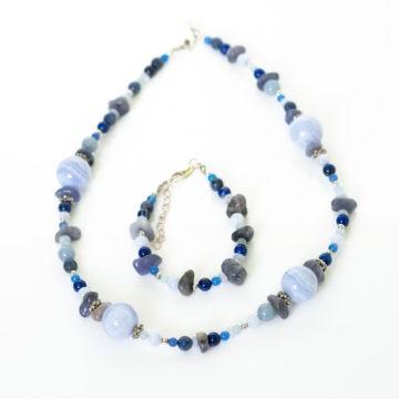 komunikácia, náhrdelník, náramok, chalcedon, lapis lazuli, akvamarín, tanzanit, achát, angelit, modrý kremeň