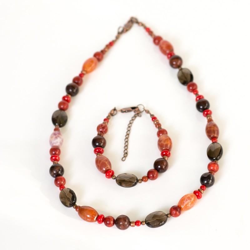 ku koreňom, náhrdelník, náramok, koral, červený jaspis, býčie oko, záhneda, ohnivý achát