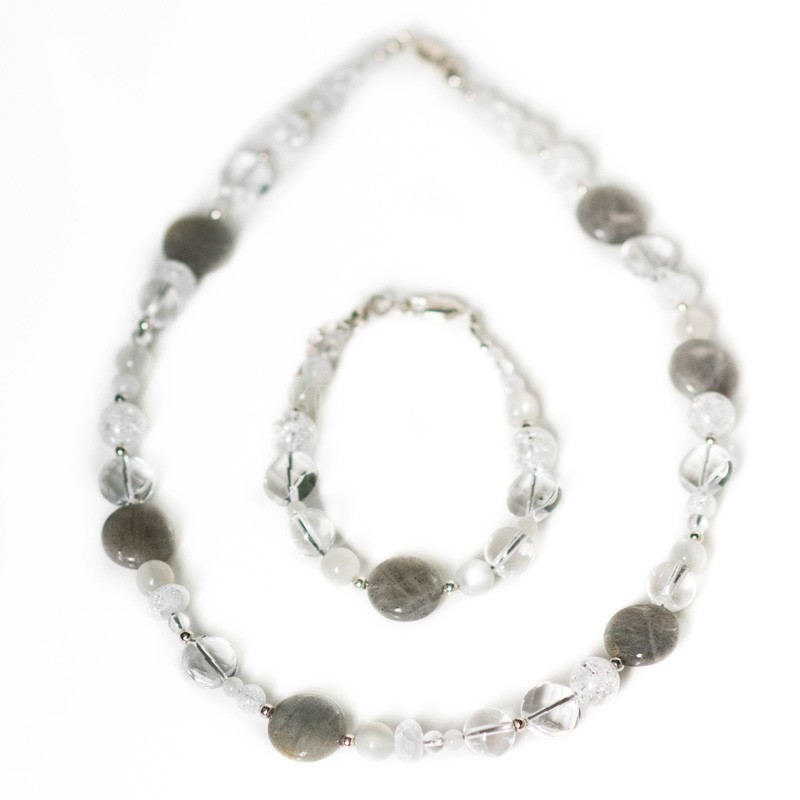 božská, náhrdelník, náramok, krištáľ, adulár, labradorit