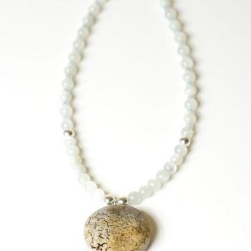 tajomstvo luny, náhrdelník, mesačný kameň, akvamarín, achát