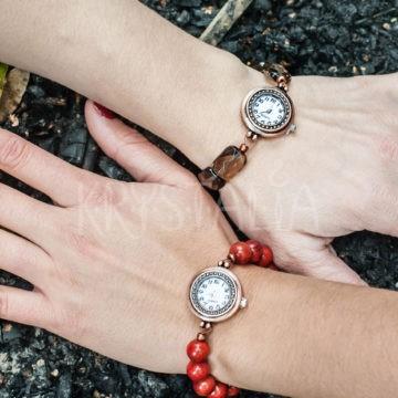 hodinky bohemian, hodinky, záhneda, červený koral