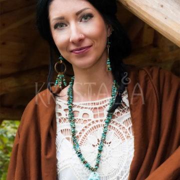 indiánska duša, náhrdelník, náušnice, tyrkys