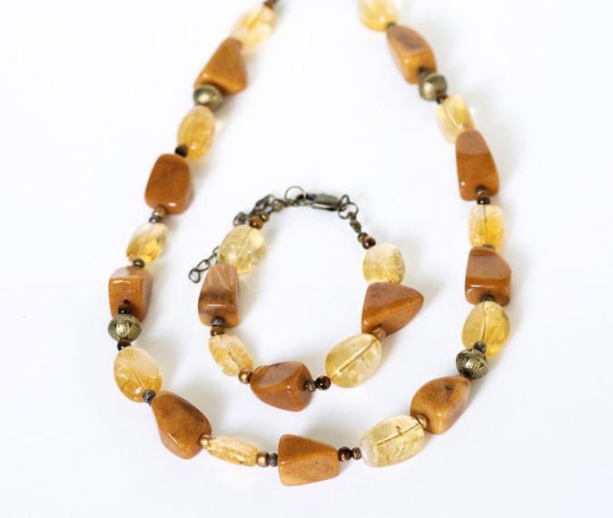 ja som, náhrdelník, náramok, citrín, tigrie oko, pyrit, jaspis