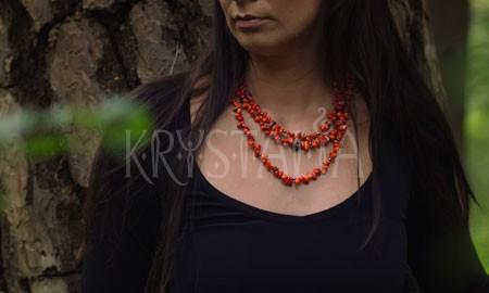 keď útes rozpráva, náhrdelník, oranžový koral,