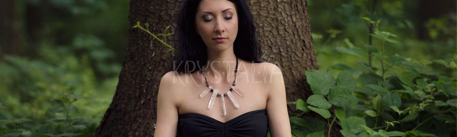 marakame, náhrdelník, krištáľ, pyrit, láva