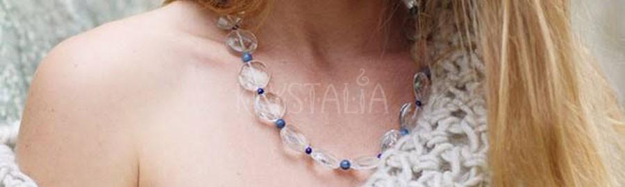 nebeská krása, náhrdelník, krištáľ, lapis lazuli, modrý kremeň