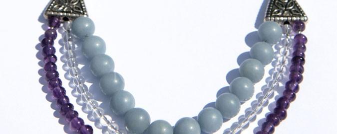 sulis, náhrdelník, angelit, krištáľ, ametyst