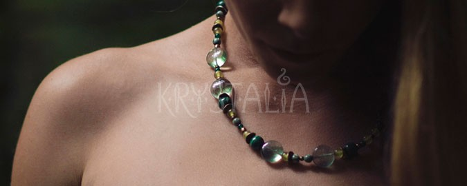 v krajine elfov, náhrdelník, malachit, serafinit, achát, fluorit, jadeit