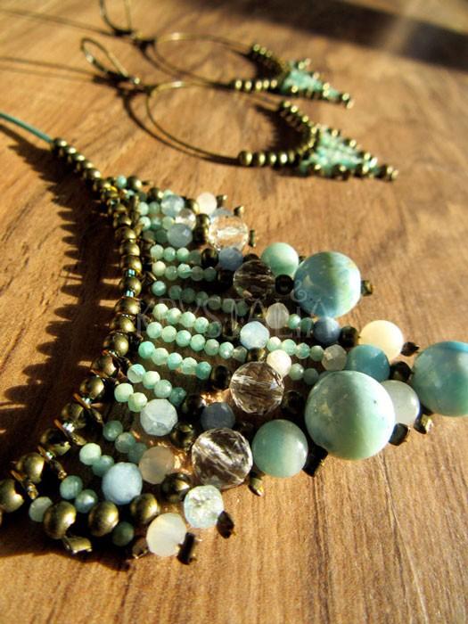 Šperková sada s larimarom (náhrdelník a náušnice)