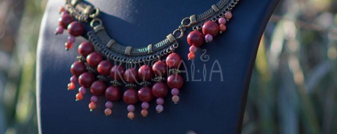 náhrdelník, cantadora, červený koral, rodonit, ohnivý achát