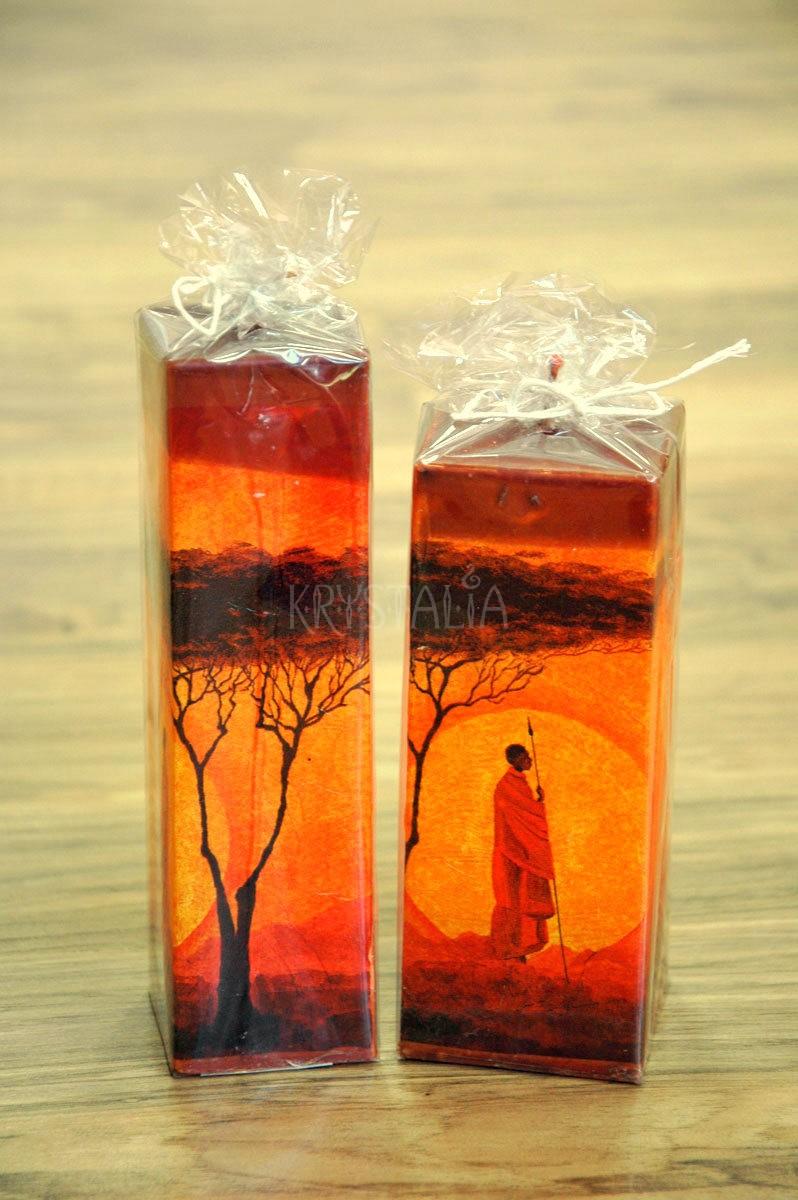 Dekoračné sviečky s africkým motívom