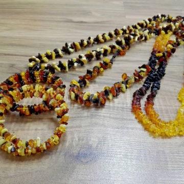 náhrdelník, náramok, jantár