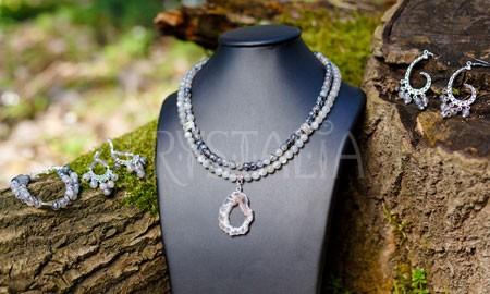 náhrdelník, náramok, náušnice, Dračie krídla, mesačný kameň, achát