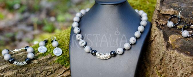 náhrdelník, náramok, náušnice, Dych Zeme, achát, turmalín, hematit