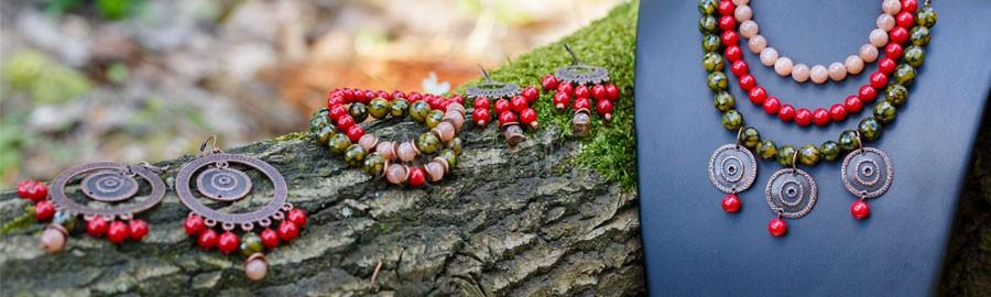náhrdelník, náramok, náušnice, Hadí tanec, achát hadia koža, červený koral, mesačný kameň