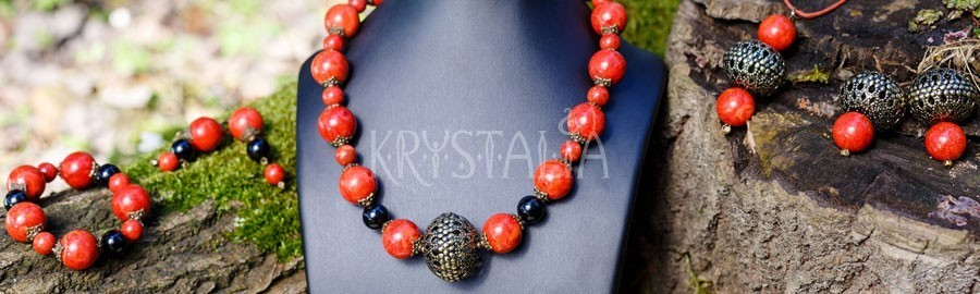 náhrdelník, náramok, náušnice, Pachamama, červený koral, turmalín čierny