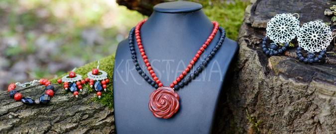náhrdelník, náramok, náušnice, Rozkvet, červený jaspis, láva, červený koral