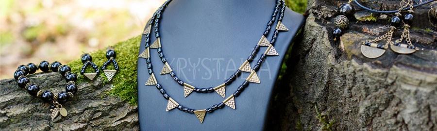 náhrdelník, náramok, náušbice, Bojovníčka, turmalín čierny