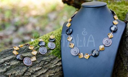 náhrdelník, náramok, náušnice, Dcéra Slnka, citrín gagát