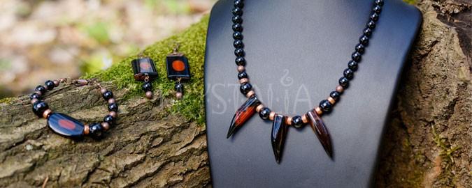 náhrdelník, náušnice, Medicine Woman, achát, turmalín