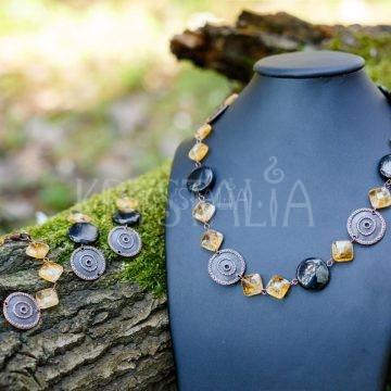 pachamama, dcéra slnka, náhrdelník, náramok, náušnice, citrín, gagát