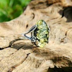 strieborny prsten jantar
