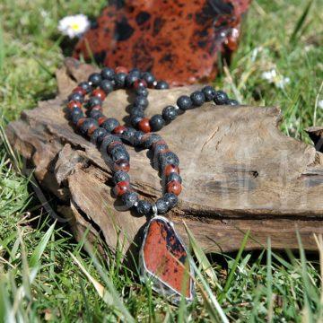 pánsky náhrdelník s príveskom obsidián mahagónový, láva