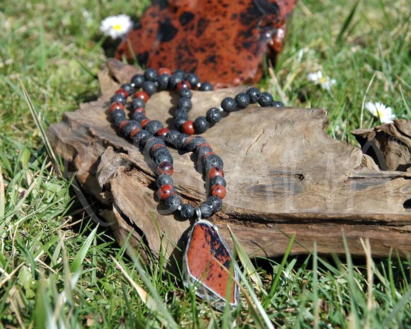 Pánsky náhrdelník s príveskom z mahagónového obsidiánu a lávy
